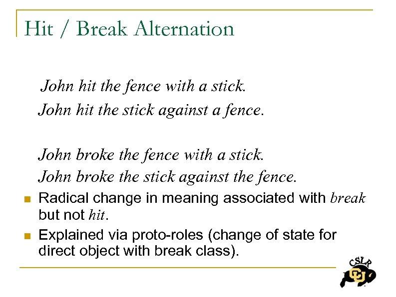 Hit / Break Alternation John hit the fence with a stick. John hit the