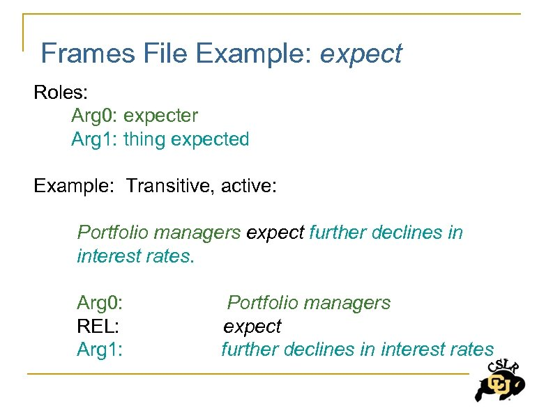 Frames File Example: expect Roles: Arg 0: expecter Arg 1: thing expected Example: Transitive,