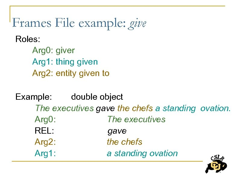 Frames File example: give Roles: Arg 0: giver Arg 1: thing given Arg 2: