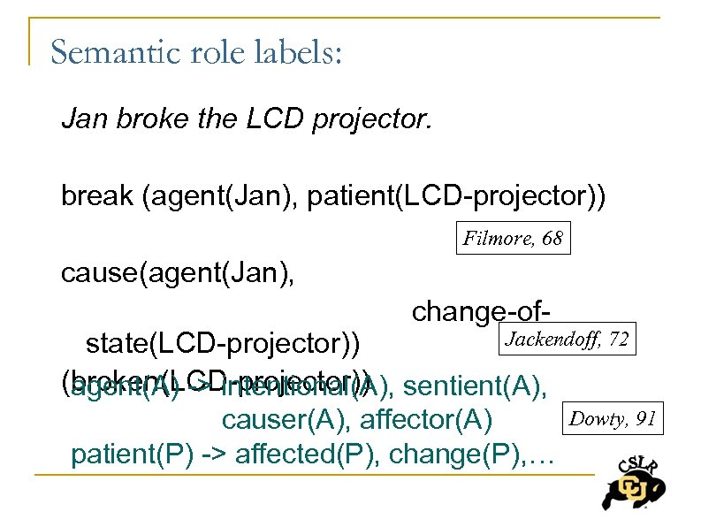 Semantic role labels: Jan broke the LCD projector. break (agent(Jan), patient(LCD-projector)) Filmore, 68 cause(agent(Jan),