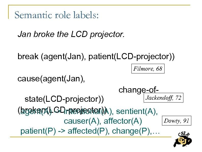 Semantic role labels: Jan broke the LCD projector. break (agent(Jan), patient(LCD-projector)) Filmore, 68 cause(agent(Jan),