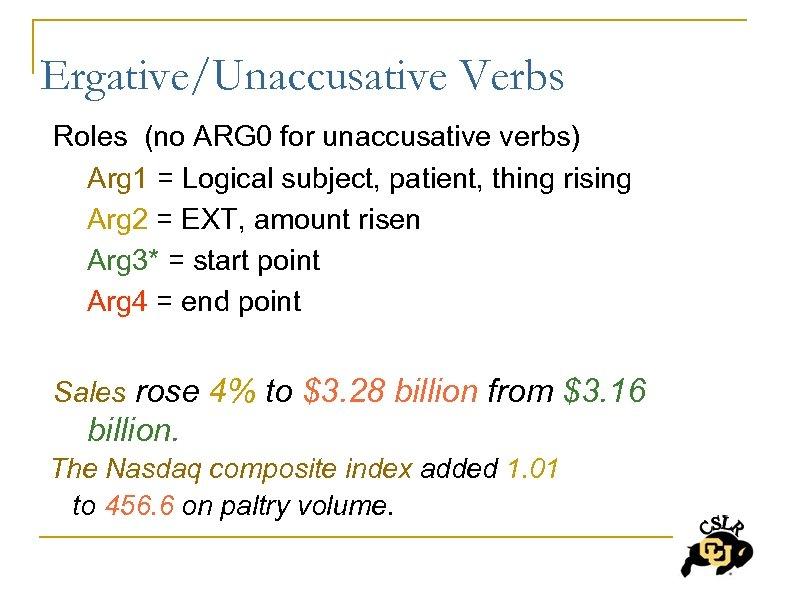 Ergative/Unaccusative Verbs Roles (no ARG 0 for unaccusative verbs) Arg 1 = Logical subject,