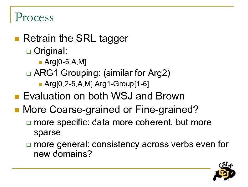 Process n Retrain the SRL tagger q Original: n q ARG 1 Grouping: (similar