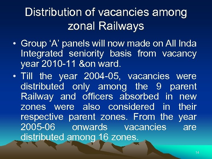 Distribution of vacancies among zonal Railways • Group 'A' panels will now made on