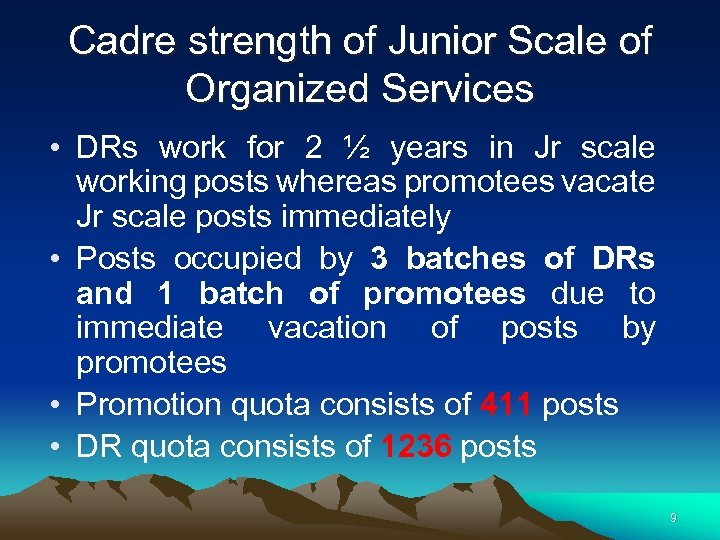 Cadre strength of Junior Scale of Organized Services • DRs work for 2 ½