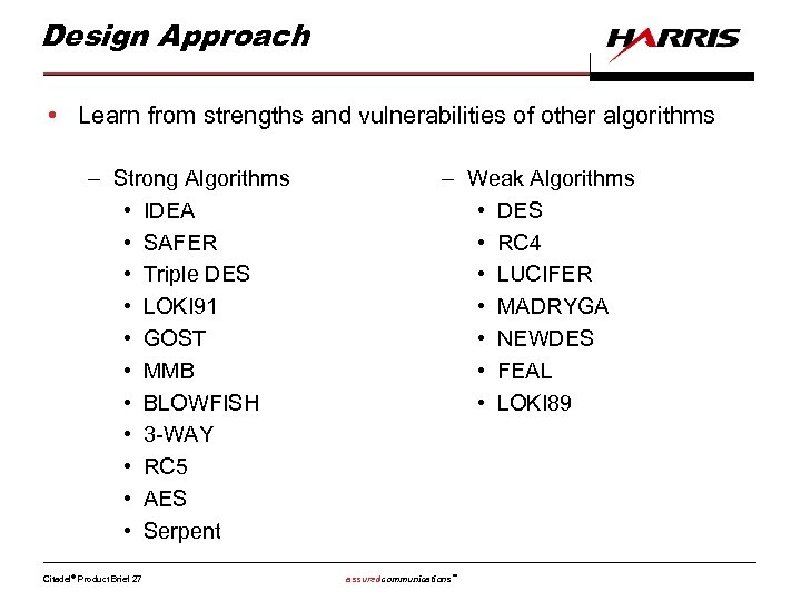 Design Approach • Learn from strengths and vulnerabilities of other algorithms – Strong Algorithms