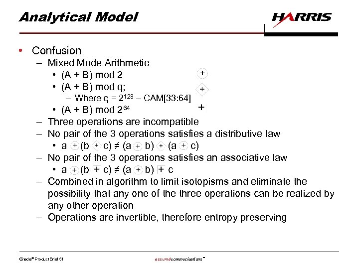 Analytical Model • Confusion – Mixed Mode Arithmetic • (A + B) mod 2