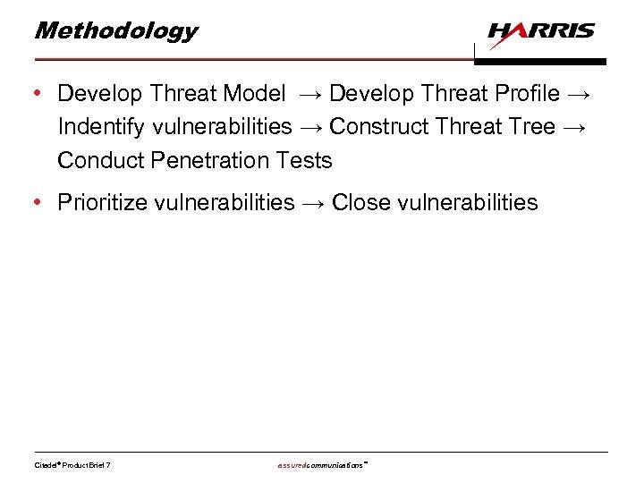 Methodology • Develop Threat Model → Develop Threat Profile → Indentify vulnerabilities → Construct