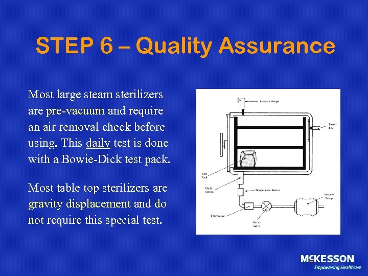 STEP 6 – Quality Assurance Most large steam sterilizers are pre-vacuum and require an