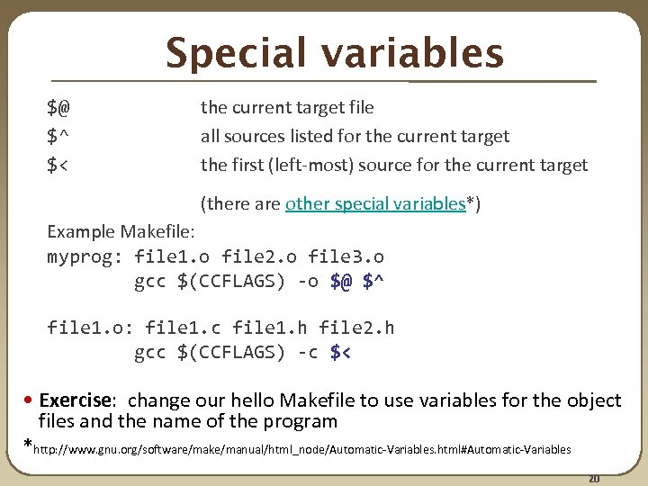 Makefile automatic variables