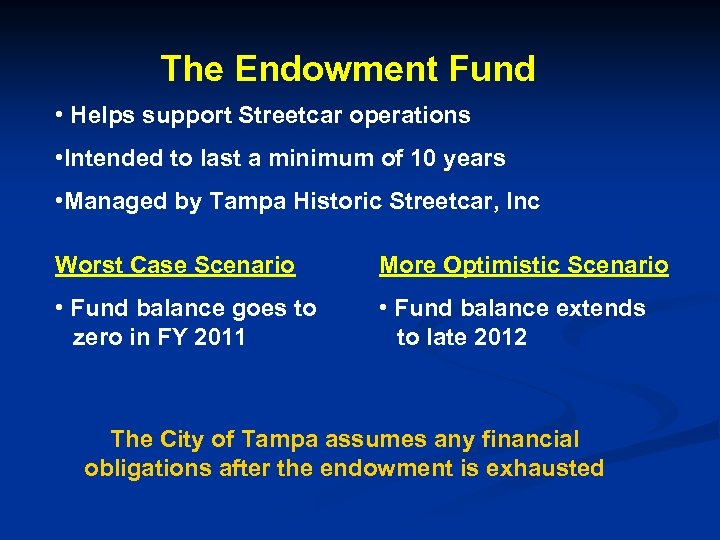 The Endowment Fund • Helps support Streetcar operations • Intended to last a minimum