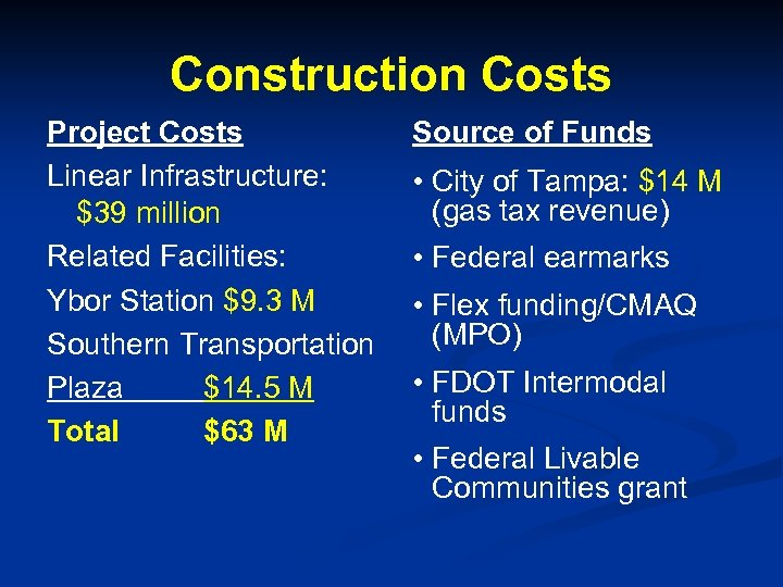 Construction Costs Project Costs Linear Infrastructure: $39 million Related Facilities: Ybor Station $9. 3