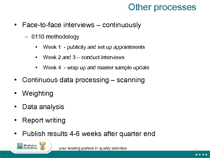 Other processes • Face-to-face interviews – continuously – 0110 methodology • Week 1 -