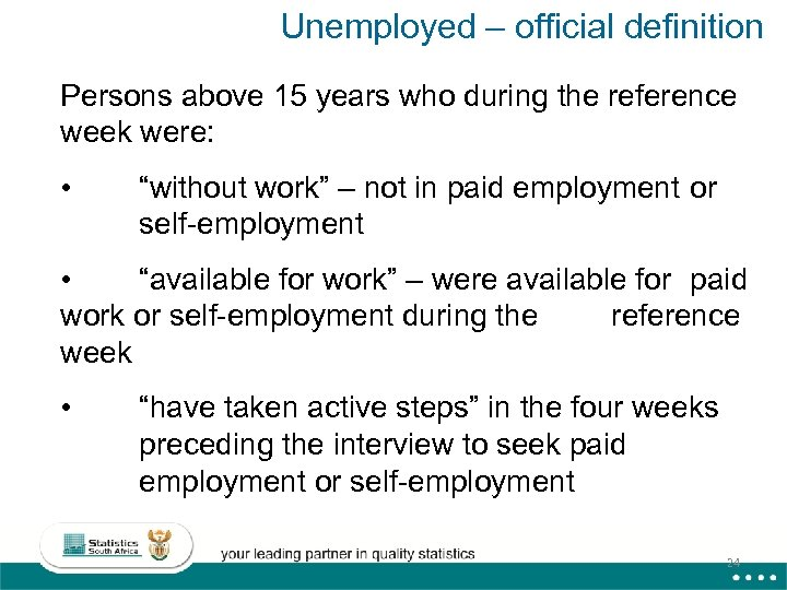 Unemployed – official definition Persons above 15 years who during the reference week were: