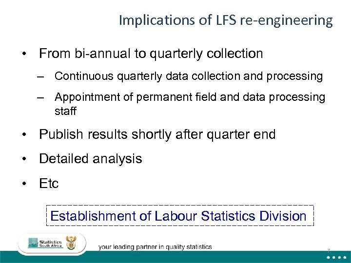 Implications of LFS re-engineering • From bi-annual to quarterly collection – Continuous quarterly data
