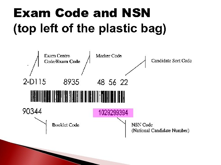 Exam Code and NSN (top left of the plastic bag)