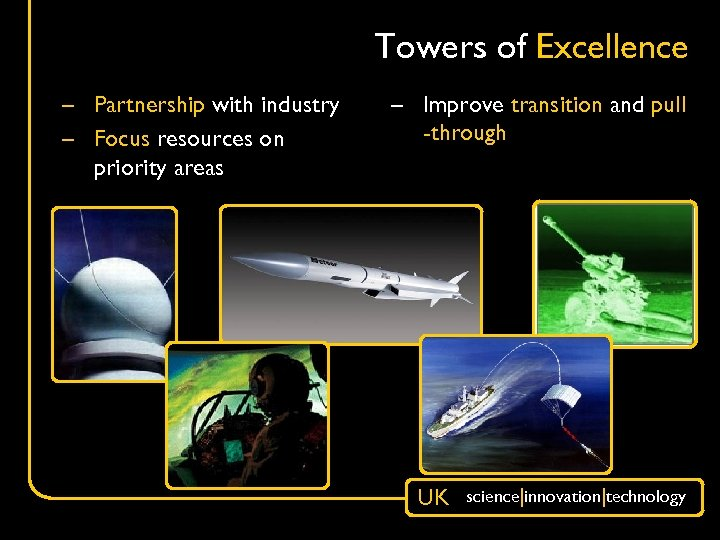 Towers of Excellence – Partnership with industry – Focus resources on priority areas –