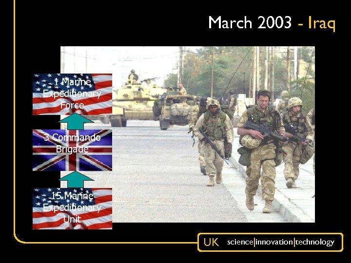 March 2003 - Iraq 1 Marine Expeditionary Force 3 Commando Brigade 15 Marine Expeditionary