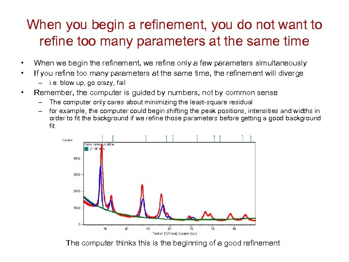 When you begin a refinement, you do not want to refine too many parameters