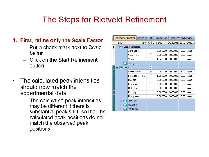 The Steps for Rietveld Refinement 1. First, refine only the Scale Factor – Put