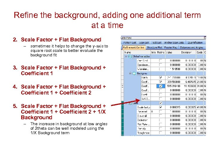 Refine the background, adding one additional term at a time 2. Scale Factor +