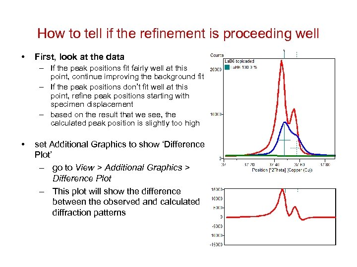 How to tell if the refinement is proceeding well • First, look at the
