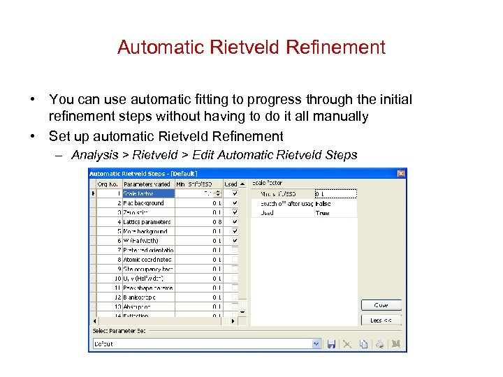 Automatic Rietveld Refinement • You can use automatic fitting to progress through the initial