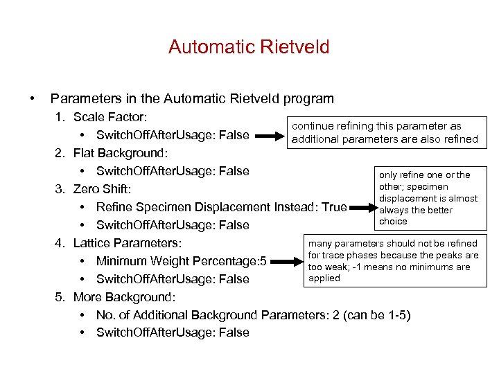 Automatic Rietveld • Parameters in the Automatic Rietveld program 1. Scale Factor: continue refining
