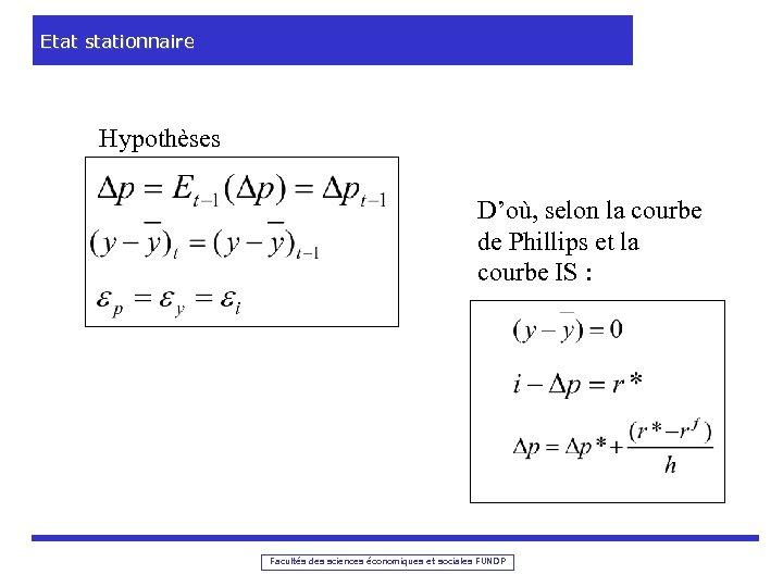 Etat stationnaire Hypothèses D'où, selon la courbe de Phillips et la courbe IS :