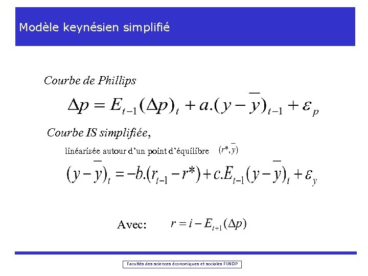 Modèle keynésien simplifié Courbe de Phillips Courbe IS simplifiée, linéarisée autour d'un point d'équilibre