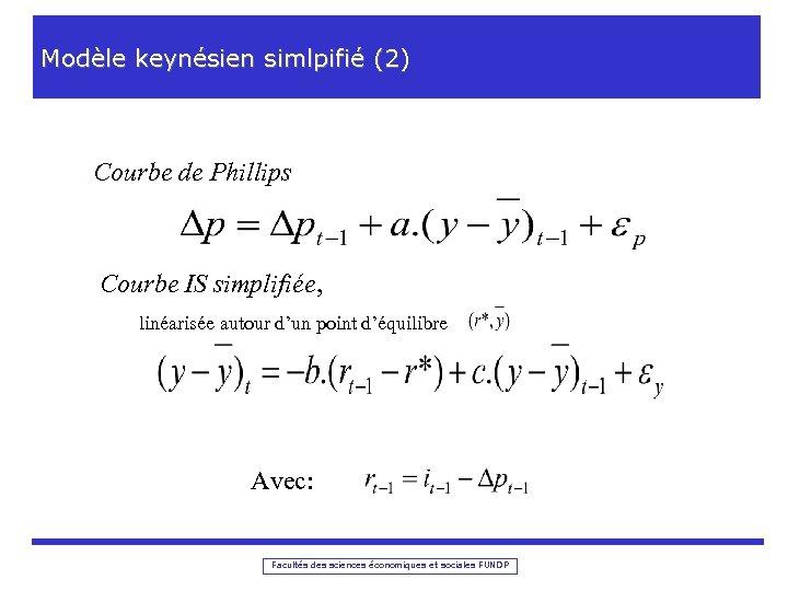 Modèle keynésien simlpifié (2) Courbe de Phillips Courbe IS simplifiée, linéarisée autour d'un point