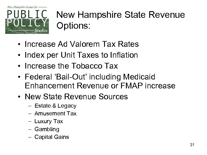 New Hampshire State Revenue Options: • • Increase Ad Valorem Tax Rates Index per