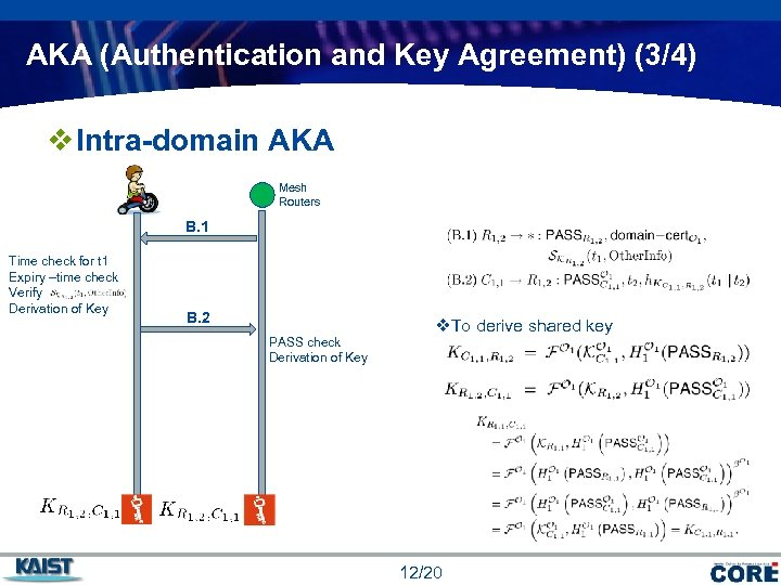 AKA (Authentication and Key Agreement) (3/4) v Intra-domain AKA Mesh Routers B. 1 Time