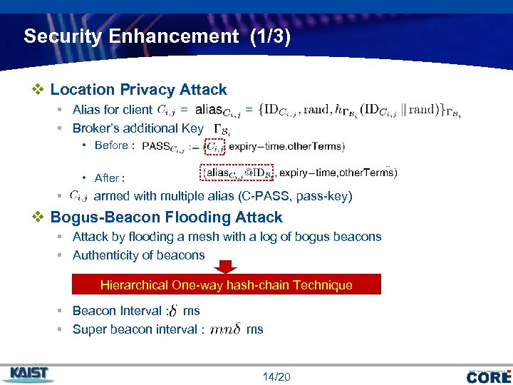 Security Enhancement (1/3) v Location Privacy Attack § Alias for client = § Broker's