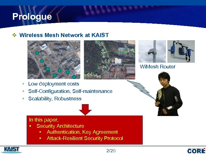 Prologue v Wireless Mesh Network at KAIST Wi. Mesh Router § Low deployment costs