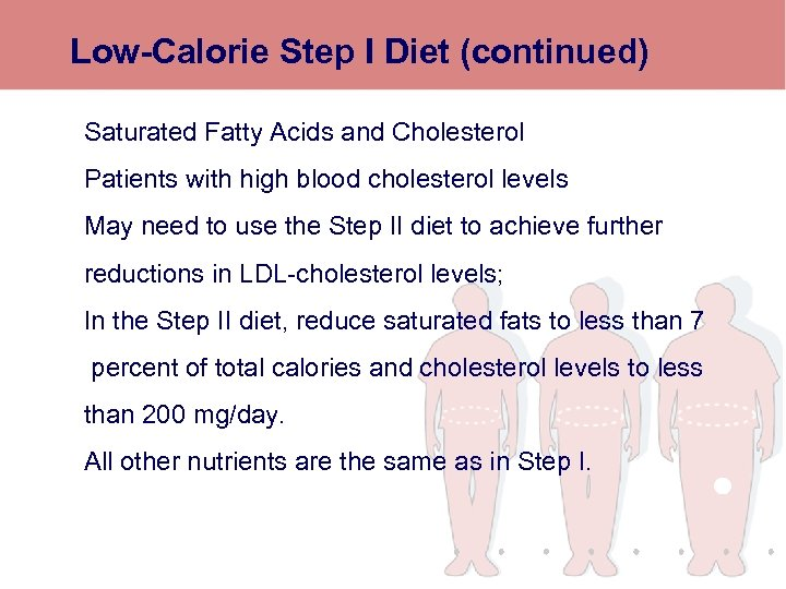 Low-Calorie Step I Diet (continued) Saturated Fatty Acids and Cholesterol Patients with high blood