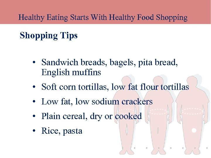 Healthy Eating Starts With Healthy Food Shopping Tips • Sandwich breads, bagels, pita bread,