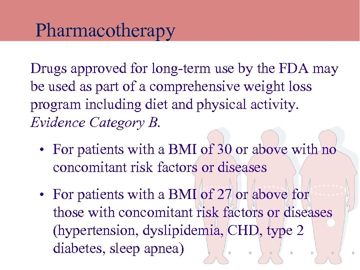 Pharmacotherapy Drugs approved for long-term use by the FDA may be used as part
