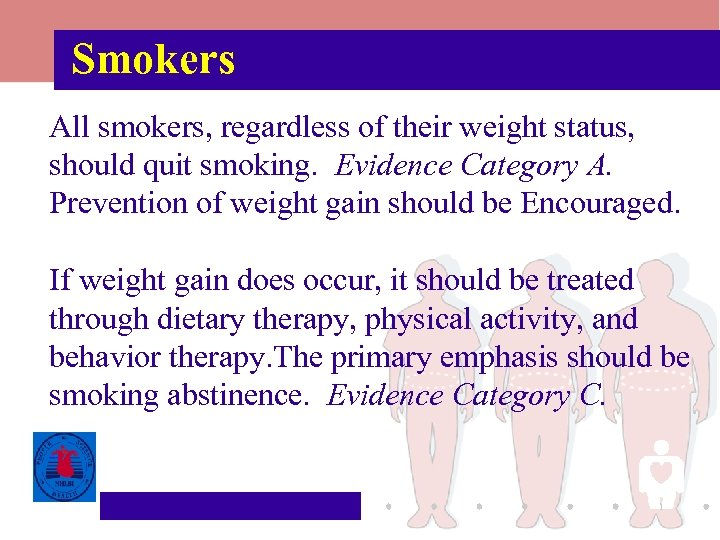 Smokers All smokers, regardless of their weight status, should quit smoking. Evidence Category A.