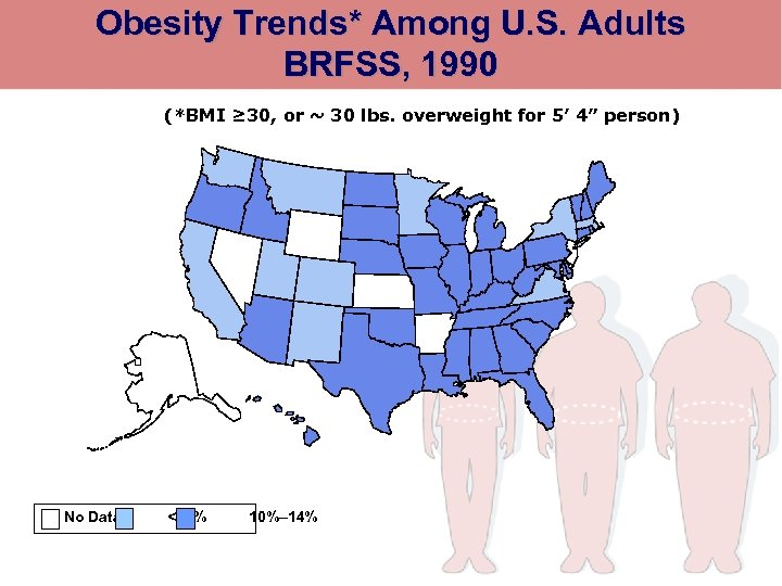 Obesity Trends* Among U. S. Adults BRFSS, 1990 (*BMI ≥ 30, or ~ 30
