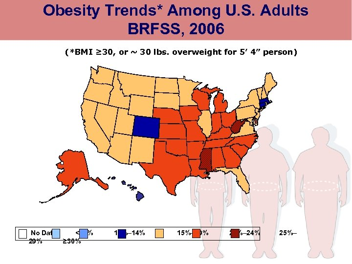 Obesity Trends* Among U. S. Adults BRFSS, 2006 (*BMI ≥ 30, or ~ 30