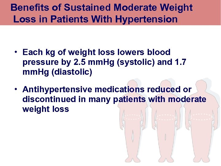 Benefits of Sustained Moderate Weight Loss in Patients With Hypertension • Each kg of