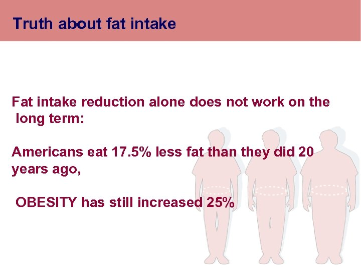 Truth about fat intake Fat intake reduction alone does not work on the long