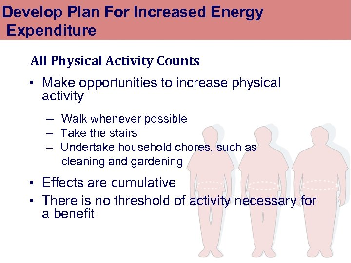 Develop Plan For Increased Energy Expenditure All Physical Activity Counts • Make opportunities to