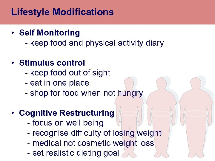 Lifestyle Modifications • Self Monitoring - keep food and physical activity diary • Stimulus