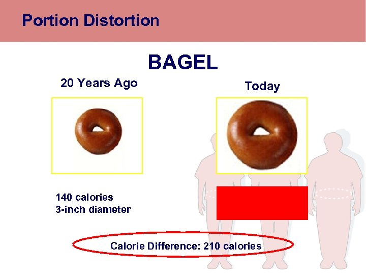 Portion Distortion BAGEL 20 Years Ago 140 calories 3 -inch diameter Today 350 calories