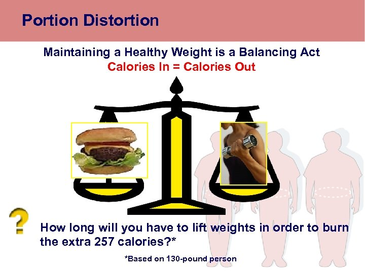 Portion Distortion Maintaining a Healthy Weight is a Balancing Act Calories In = Calories