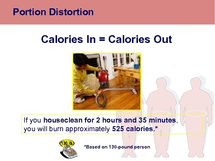 Portion Distortion Calories In = Calories Out If you houseclean for 2 hours and