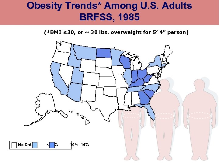 Obesity Trends* Among U. S. Adults BRFSS, 1985 (*BMI ≥ 30, or ~ 30