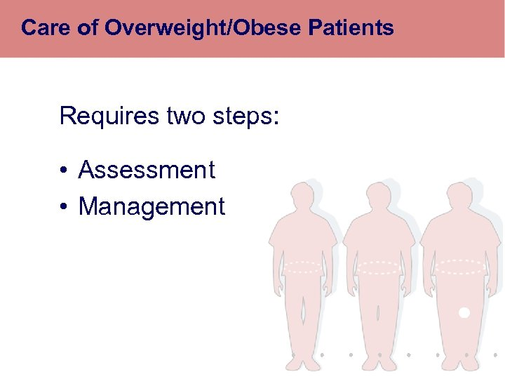 Care of Overweight/Obese Patients Requires two steps: • Assessment • Management